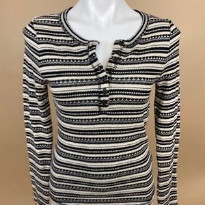 Lucky Brand Striped Knit  Long Sleeve Henley Med